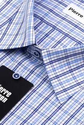 Мужская рубашка с коротким рукавом в синюю клетку