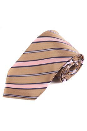 Коричневый мужской галстук в розовую и серую полоску из фактурной ткани