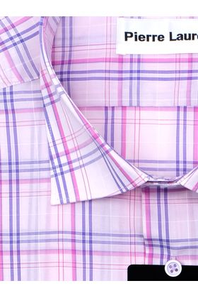 Классическая (прямая) мужская рубашка в розовую клетку с коротким рукавом