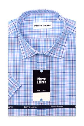 Классическая (прямая) мужская рубашка в бирюзовую клетку