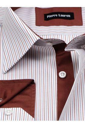 Мужская рубашка больших размеров в полоску с коричневым подкроем