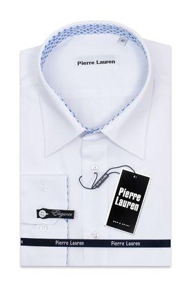 Белая однотонная мужская рубашка больших размеров с узорным подкроем