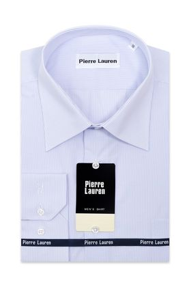 Мужская рубашка прямого покроя больших размеров в классическую мелкую голубую полоску