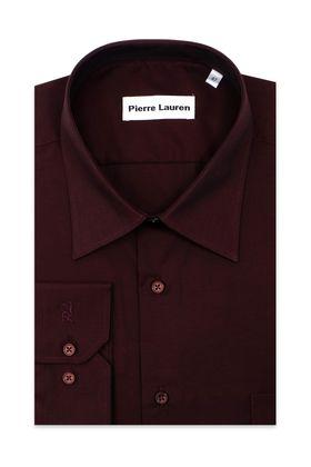 Однотонная бордовая мужская рубашка из 100% хлопка больших размеров