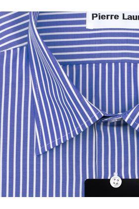 Синяя мужская рубашка прямого покроя больших размеров в белую полоску