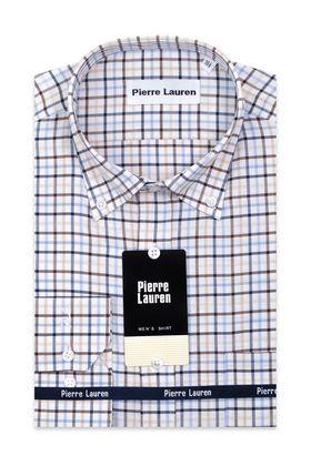 Стильная мужская рубашка прямого покроя больших размеров в клетку в бежево-голубой гамме