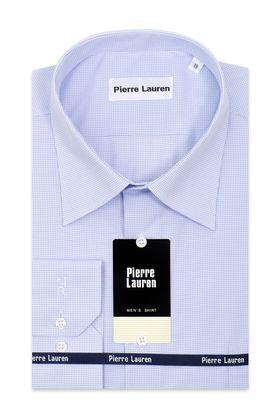 Мужская рубашка прямого покроя больших размеров в классическую мелкую голубую клетку