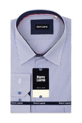 Мужская рубашка больших размеров в полоску с контрастным подкроем