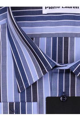 Синяя мужская рубашка больших размеров в полоску