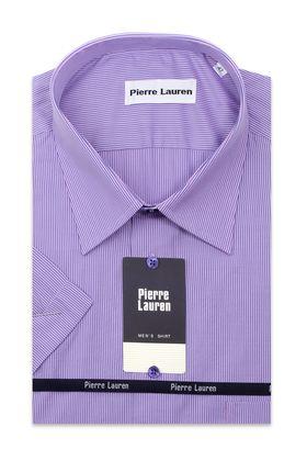 Сиреневая мужская рубашка больших размеров c коротким рукавом в полоску.