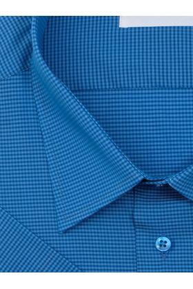 Темно-бирюзовая мужская рубашка больших размеров c коротким рукавом в клетку.