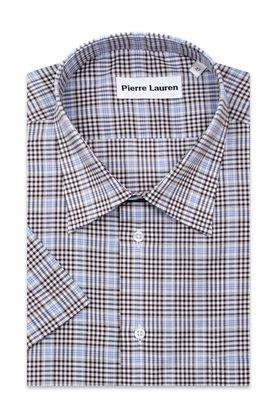 Сине-серая мужская рубашка больших размеров c коротким рукавом в клетку.