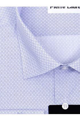 Голубая мужская рубашка из ткани геометрическим узорным принтом