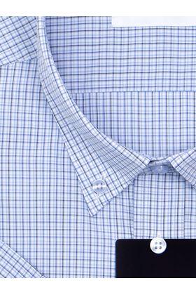 Мужская рубашка больших размеров c коротким рукавом в синюю клетку и воротником Button-Down