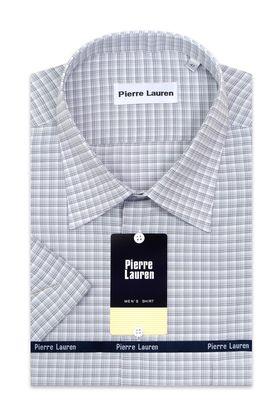Мужская рубашка больших размеров c коротким рукавом в серую клетку