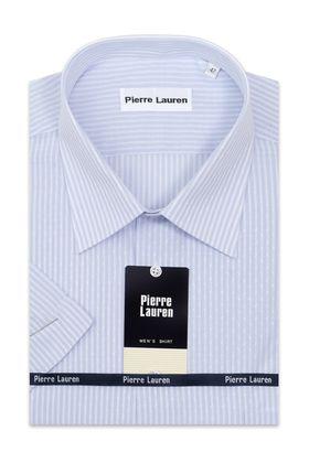 Мужская рубашка больших размеров c коротким рукавом в голубую полоску