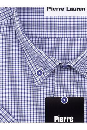 Классическая прямая мужская рубашка с коротким рукавом Classic в синюю клетку