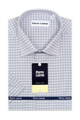 Классическая (прямая) мужская рубашка в серую клетку с коротким рукавом
