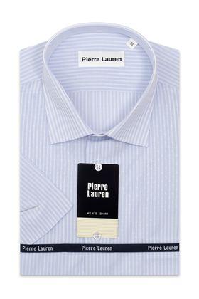Классическая (прямая) мужская рубашка в голубую полоску с коротким рукавом