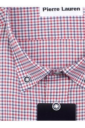 Мужская рубашка больших размеров c коротким рукавом в красную клетку и воротником Button-Down