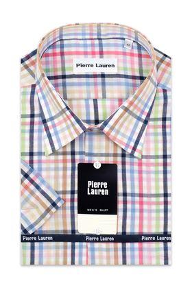 Мужская рубашка больших размеров c коротким рукавом в клетку. Рубашка выполнена из 100% хлопка и с накладным карманом на груди.