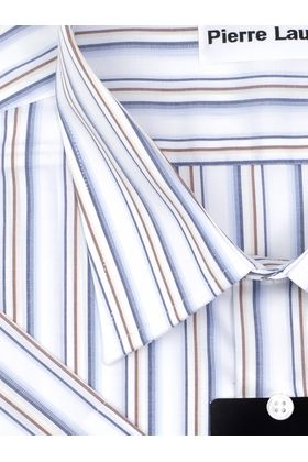 Мужская рубашка больших размеров c коротким рукавом белого цвета в синюю полоску