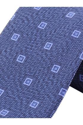 Красивый синий мужской галстук с геометрическим узором. Галстук шириной 9 см у основания.