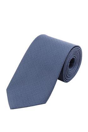 Однотонный синий мужской галстук из структурной ткани. Галстук шириной 9 см у основания.