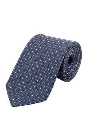Темно-синий мужской галстук с золотистым узором в голубой горошек