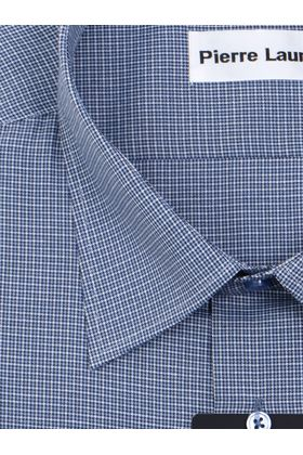 Темно-синяя мужская рубашка с узором в виде клетки