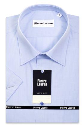 голубая однотонная мужская рубашка с коротким рукавом