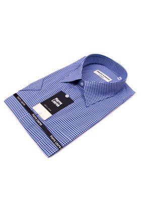 Приталенная мужская рубашка с коротким рукавом в синюю клетку