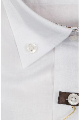100092JМК Белая мужская рубашка приталенная Jacoe