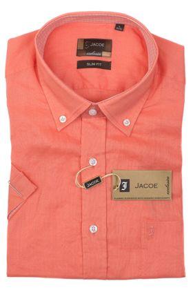100115JМК Оранжевая мужская рубашка приталенная Jacoe