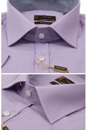 103133JМК Сиреневая мужская рубашка приталенная Jacoe