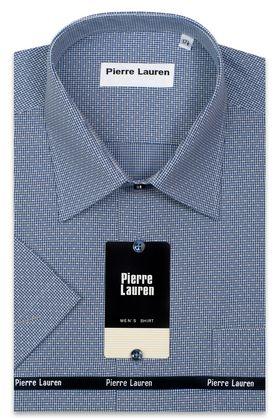 Приталенная мужская рубашка с синим текстурным узором