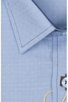 100457JМК Синяя мужская рубашка приталенная Jacoe