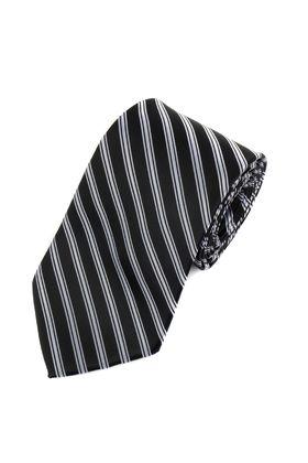 Классический мужской галстук черного цвета в серебристо-серую полоску