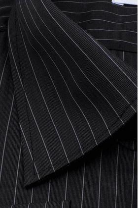Хлопковая черная мужская рубашка больших размеров полоску