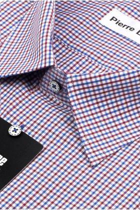 Мужская рубашка больших размеров c коротким рукавом в красную клетку