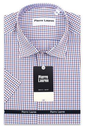 Красивая мужская рубашка с коротким рукавом в красную клетку