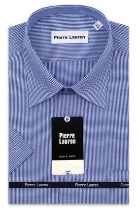 Мужская рубашка больших размеров c коротким рукавом в синюю клетку