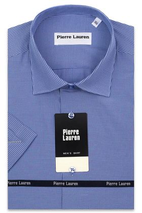 Мужская рубашка с коротким рукавом в синюю клетку, приталенная Super Slim Fit
