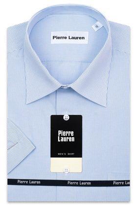 Мужская рубашка с коротким рукавом в голубую полоску