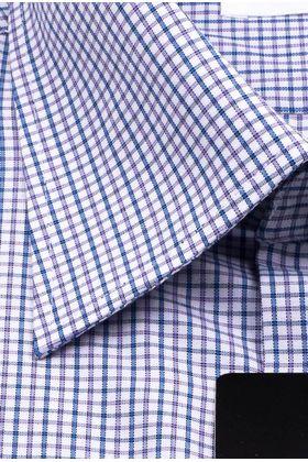 Мужская рубашка с коротким рукавом в сиреневую клетку