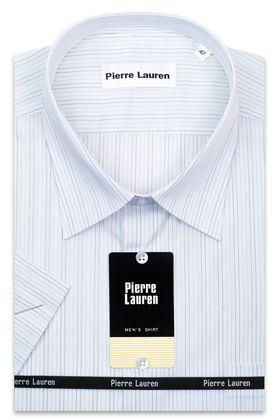 Мужская рубашка больших размеров из 100% хлопка c коротким рукавом в тонкую полоску