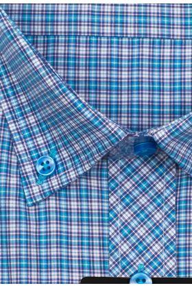 Мужская рубашка с коротким рукавом в голубую клетку