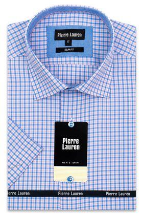 Красивая мужская рубашка с коротким рукавом в голубую клетку