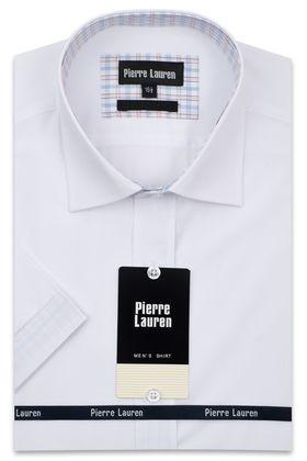 Однотонная мужская рубашка с коротким рукавом в белого цвета