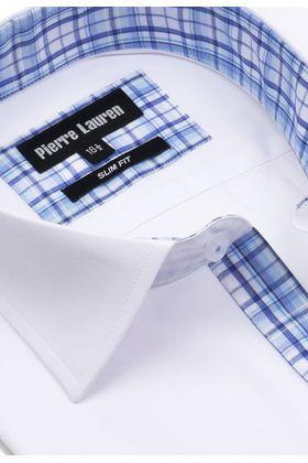 Белая мужская рубашка с коротким рукавом, приталенная Slim Fit
